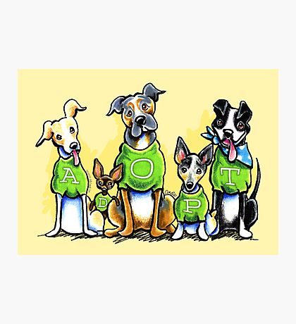 Think Adoption | Green Tee Shelter Dogs Photographic Print