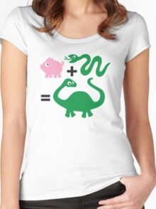 Pig + Snake = Dinosaur Women's Fitted Scoop T-Shirt