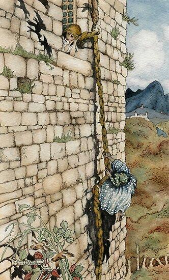 Watercolor Tribute to Arthur Rackham's Rapunzel by Elizabeth Aubuchon