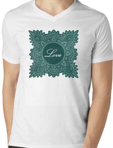 Green Victorian Love Lace Mens V-Neck T-Shirt