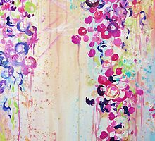 DANCE OF THE SAKURA - Pretty Cherry Blossoms Japanese Floral, Whimsical Abstract Acrylic Painting by EbiEmporium