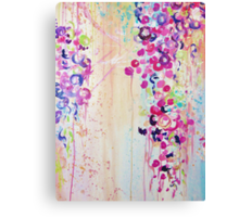 DANCE OF THE SAKURA - Pretty Cherry Blossoms Japanese Floral, Whimsical Abstract Acrylic Painting Canvas Print