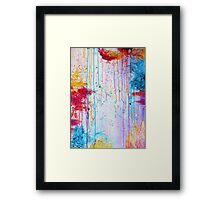 HAPPY TEARS - Bright Cheerful Rainy Day Abstract, Pretty Feminine Whimsical Acrylic Fine Art Painting Framed Print