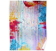 HAPPY TEARS - Bright Cheerful Rainy Day Abstract, Pretty Feminine Whimsical Acrylic Fine Art Painting Poster