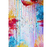 HAPPY TEARS - Bright Cheerful Rainy Day Abstract, Pretty Feminine Whimsical Acrylic Fine Art Painting Photographic Print