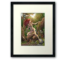 Redhead Cavewoman in Jungle by Al Rio Framed Print