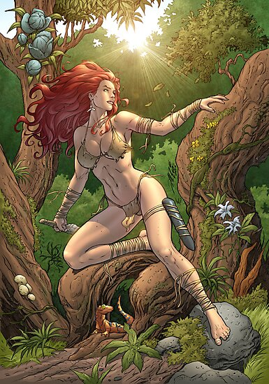 Redhead Cavewoman in Jungle by Al Rio by alrioart