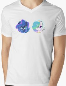 Sun and Moon Princesses Mens V-Neck T-Shirt