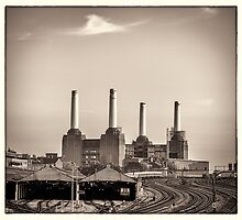 Battersea Power Station with train tracks Photograph by RunnyCustard