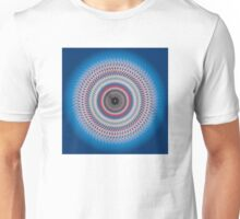 Multi-colored abstract circle on blue gradient background Unisex T-Shirt