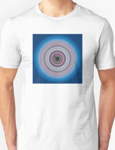 Multi-colored abstract circle on blue gradient background T-Shirt