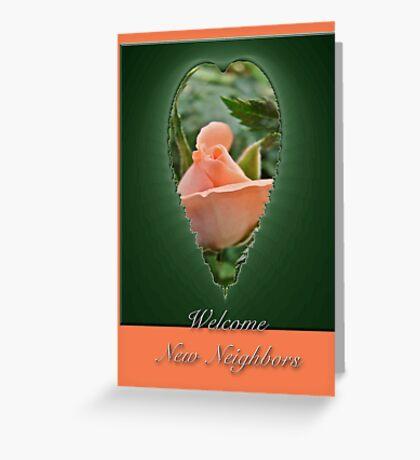 Welcome New Neighbors Greeting Card - Peach Rose Bud Greeting Card