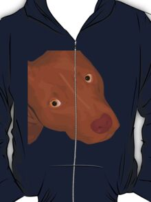 Cute Red Nose Pitbull Portrait - Vector Art T-Shirt