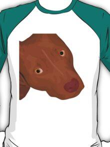 Cute Red Nose Pitbull Portrait - Vector Art T-Shirt