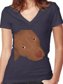 Cute Red Nose Pitbull Portrait - Vector Art Women's Fitted V-Neck T-Shirt