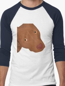 Cute Red Nose Pitbull Portrait - Vector Art Men's Baseball ¾ T-Shirt