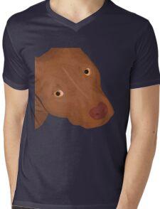 Cute Red Nose Pitbull Portrait - Vector Art Mens V-Neck T-Shirt