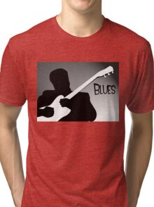 Silhouette of a Blues Player Playing Guitar Tri-blend T-Shirt