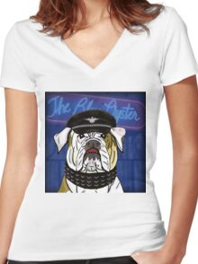 Funny and Tough Bulldog, Blue Oyster Sign in the Background Women's Fitted V-Neck T-Shirt