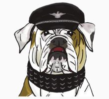 Funny and Tough Bulldog Wearing Leather Hat and Collar by ibadishi