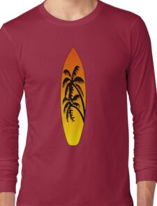 Surfboard Palm Trees (Sunset) Long Sleeve T-Shirt