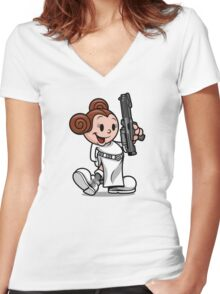 Vintage Leia Women's Fitted V-Neck T-Shirt