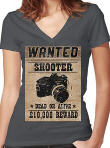 Shooter Wanted Women's Fitted V-Neck T-Shirt