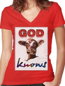 GOD KNOWS Women's Fitted V-Neck T-Shirt