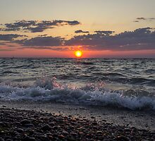 Crashing Waves at Sunset by Mikell Herrick