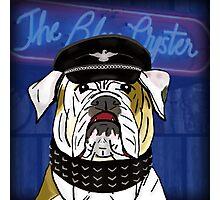 Funny and Tough Bulldog, Blue Oyster Sign in the Background Photographic Print