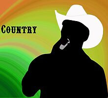 Silhouette of a Country Singer with Green and Orange Bacground by ibadishi