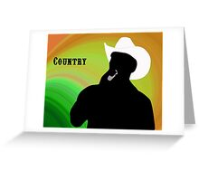 Silhouette of a Country Singer with Green and Orange Bacground Greeting Card