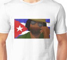 Funny Cuban Smelling Cigar, Cuban Flag on the Background Unisex T-Shirt