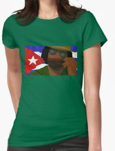 Funny Cuban Smelling Cigar, Cuban Flag on the Background Womens Fitted T-Shirt