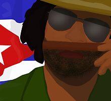 Funny Cuban Smelling Cigar, Cuban Flag on the Background by ibadishi