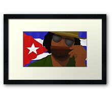 Funny Cuban Smelling Cigar, Cuban Flag on the Background Framed Print