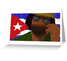 Funny Cuban Smelling Cigar, Cuban Flag on the Background Greeting Card