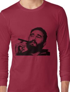 Young Fidel Castro Smoking Cigar Long Sleeve T-Shirt
