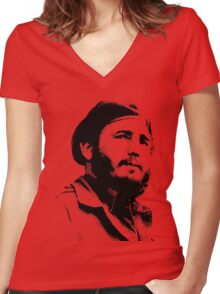 Young Fidel Castro with a Dreamy Look and Beret Women's Fitted V-Neck T-Shirt