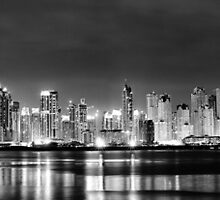 Dubai Marina and JBR Black and White by Dan Edwards