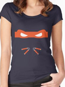 Orange Ninja Turtles Michelangelo Women's Fitted Scoop T-Shirt