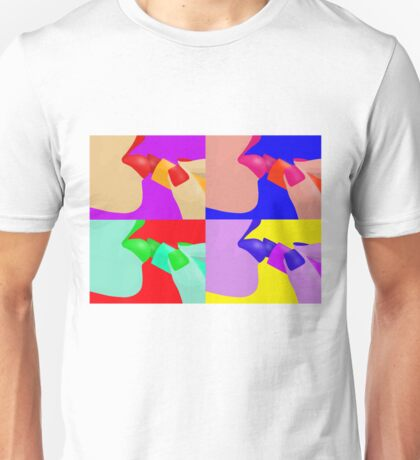 Colorful Pop Art of Lipstick on Sexy Lips Unisex T-Shirt