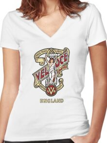 Classic British Motorcycle Emblem - Velocette Maiden Women's Fitted V-Neck T-Shirt