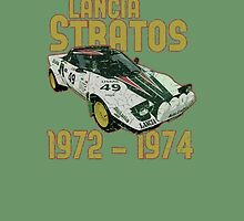 Vintage Look Lancia Stratos Retro Rally Car by VintageSpirit