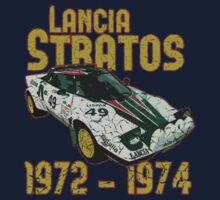 Vintage Look Lancia Stratos Retro Rally Car Kids Tee