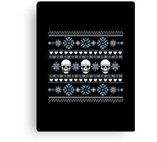 Winter Skull Sweater Blue Canvas Print