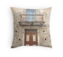 Old European Village door and balcony Throw Pillow