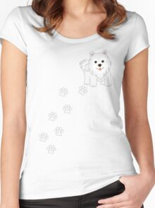 Cute Little Samoyed Puppy Dog and Pawprints Women's Fitted Scoop T-Shirt
