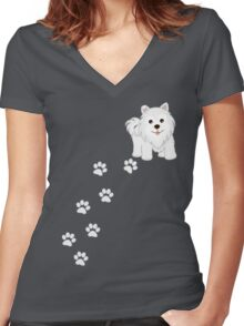 Cute Little Samoyed Puppy Dog and Pawprints Women's Fitted V-Neck T-Shirt