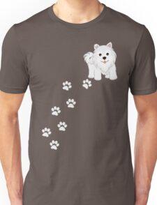 Cute Little Samoyed Puppy Dog and Pawprints Unisex T-Shirt
